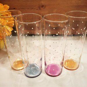 "Federal Polka Dot Iridescent Bottom 7"" Glasses (4)"